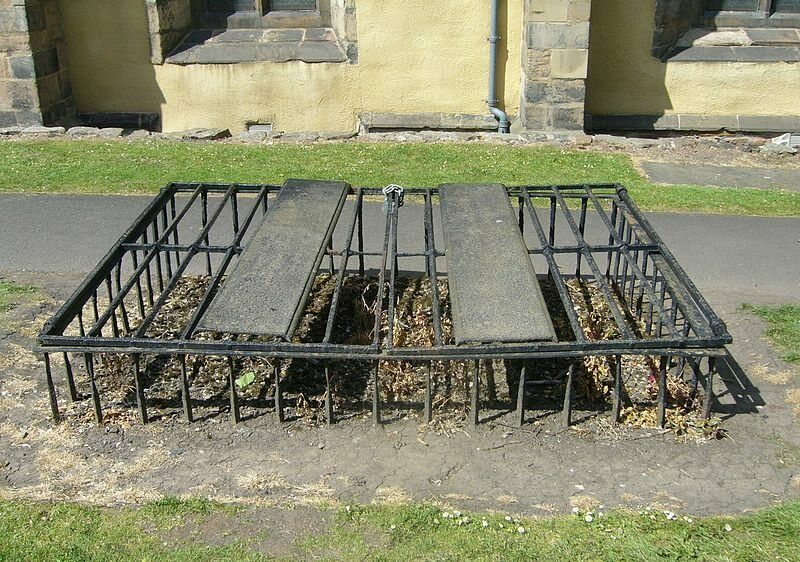Mortsafe at Greyfriars Cemetery to prevent body snatchers from stealing the deceased.