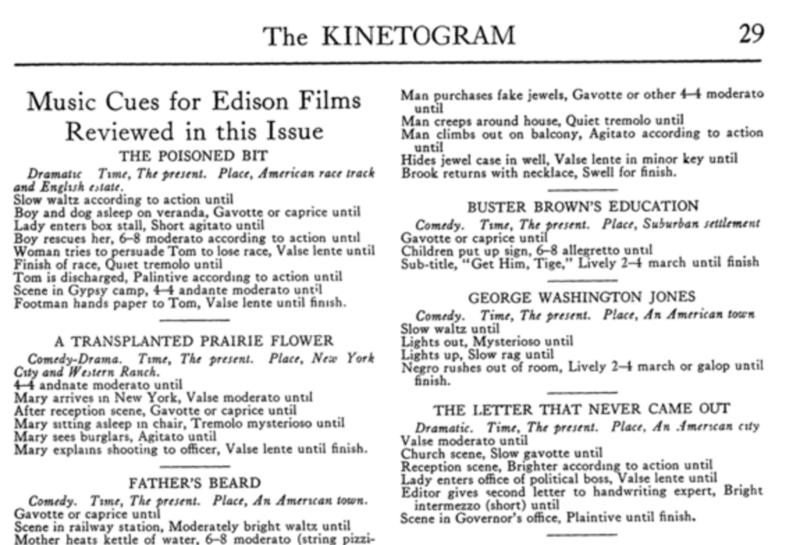 "The cue sheet from an issue of ""The Edison Kinetogram."""