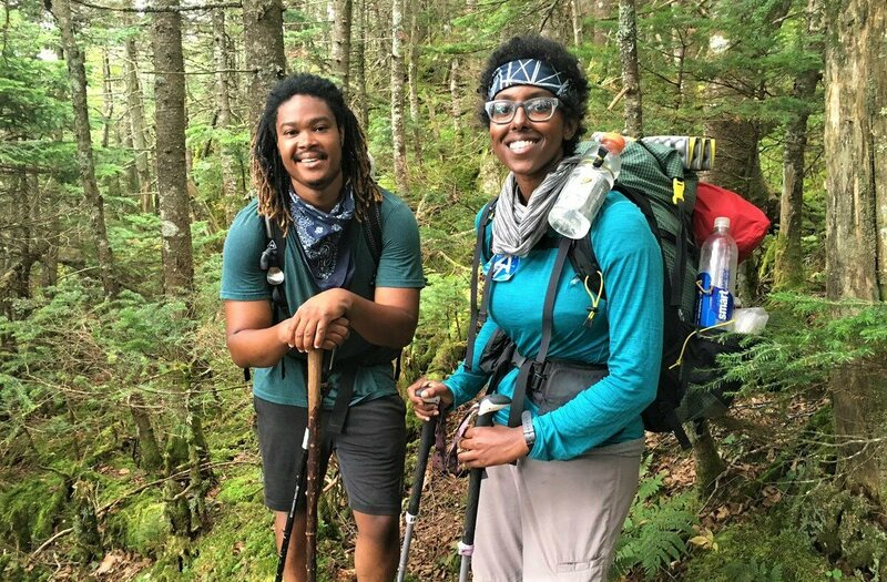 Haile with the only black person she met, who doing a southbound thru-hike.