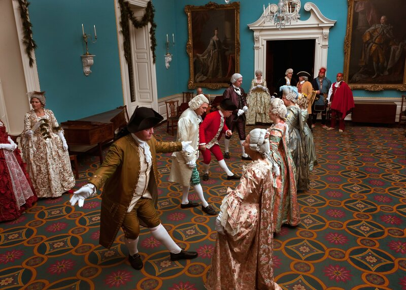 Some of Colonial Williamsburg's historical interpreters, bowing and curtseying before dancing.
