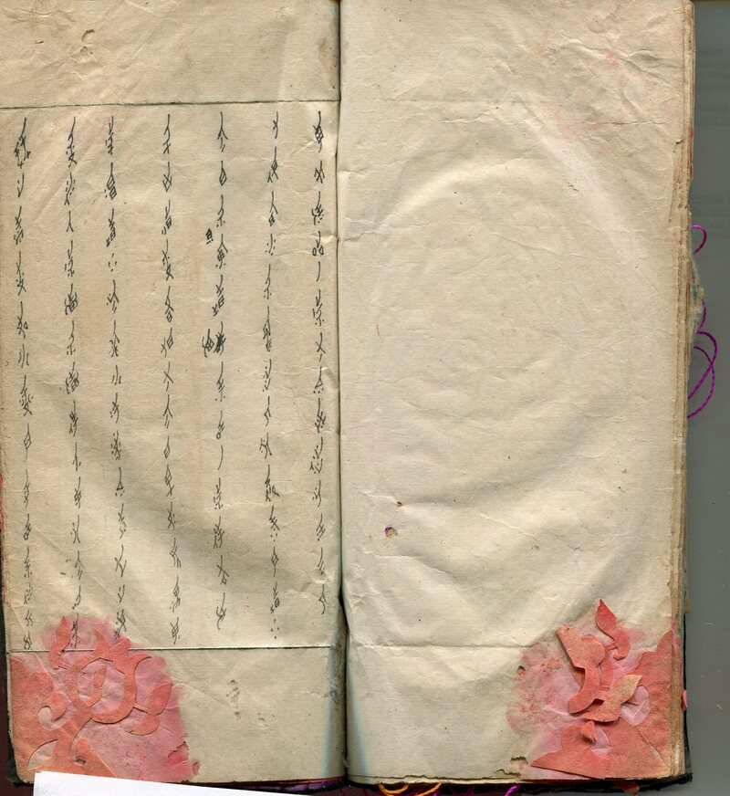 The first page of a third day missive book. Women commonly stored paper cuts and embroidery thread and patterns between the pages.