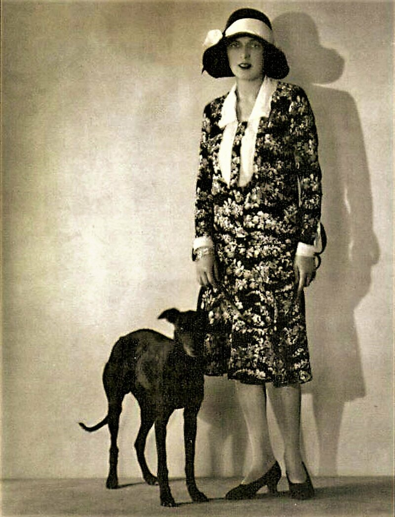 Caresse Crosby and her whippet Clytoris.