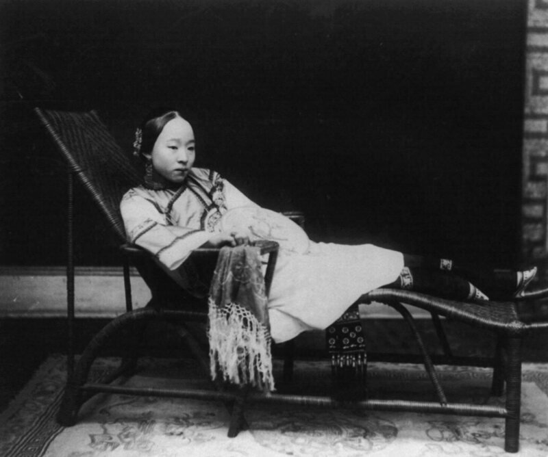 A 19th-century wealthy Chinese woman with bound feet.