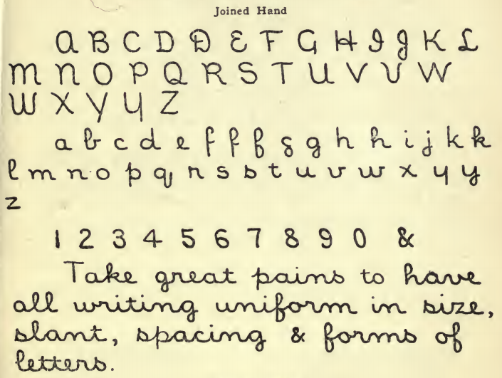 Ideal cursive library hand, from <em>A Library Primer.</em>