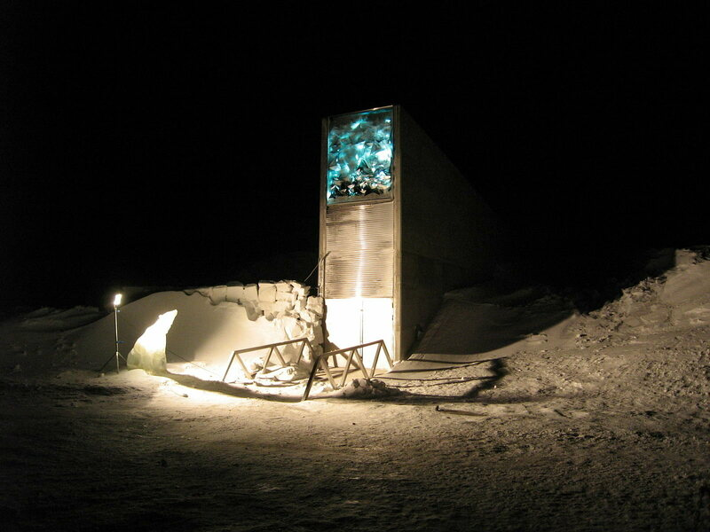 The Svalbard Global Seed Vault's main entrance, illuminated at night by a glowing art installation.