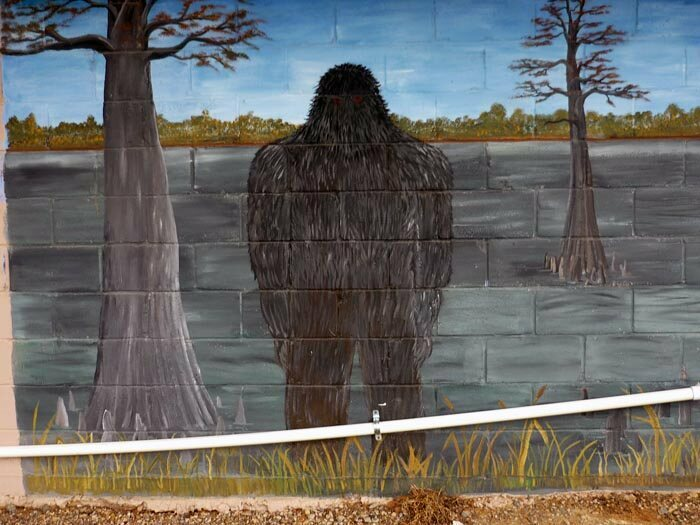 A Boggy Creek monster mural.
