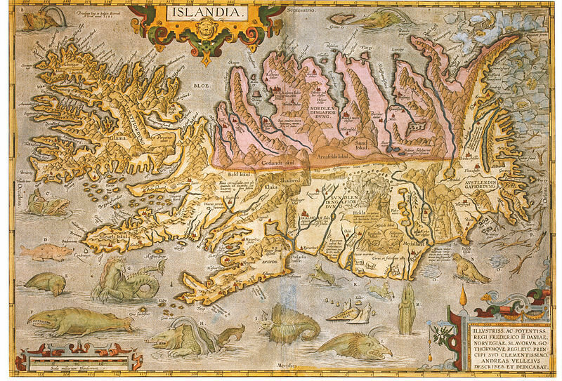 1590 map of Iceland with sea monsters, all of which are detailed at Iceland's sea monster museum.