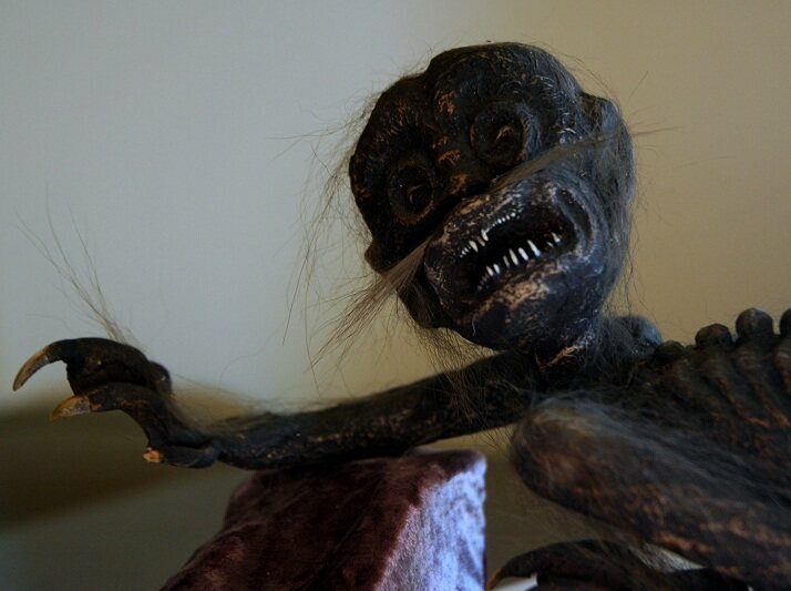 Closeup of the face of the Feejee Mermaid.