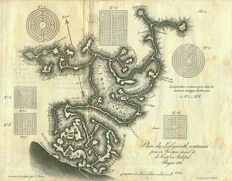 A map drawn in 1812 depicts the network of tunnels and caves forming the labyrinth.