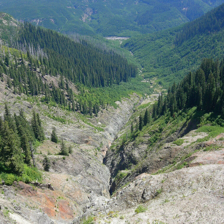 """Ape Canyon, where the miners were attacked by """"apemen."""""""