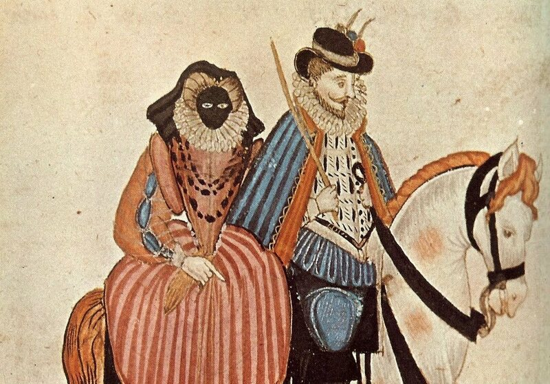A 1581 depiction of a man and his wife, who is sporting a visard.