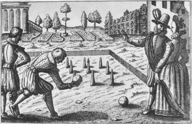 An engraving of a bowling game, kayles, in the 16th century.