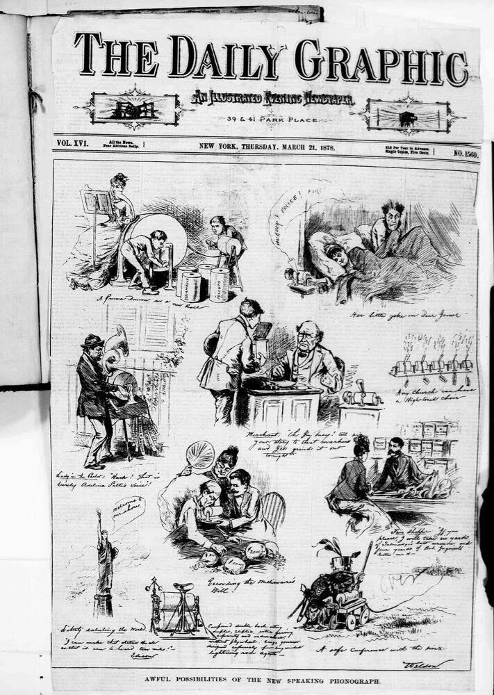 The cover of the March 21st, 1878 Daily Graphic, depicting various phonograph mishaps.