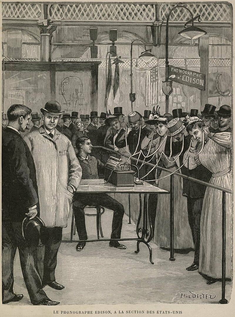 One of Edison's phonograph demonstrations, illustrated by Paul Uestel.