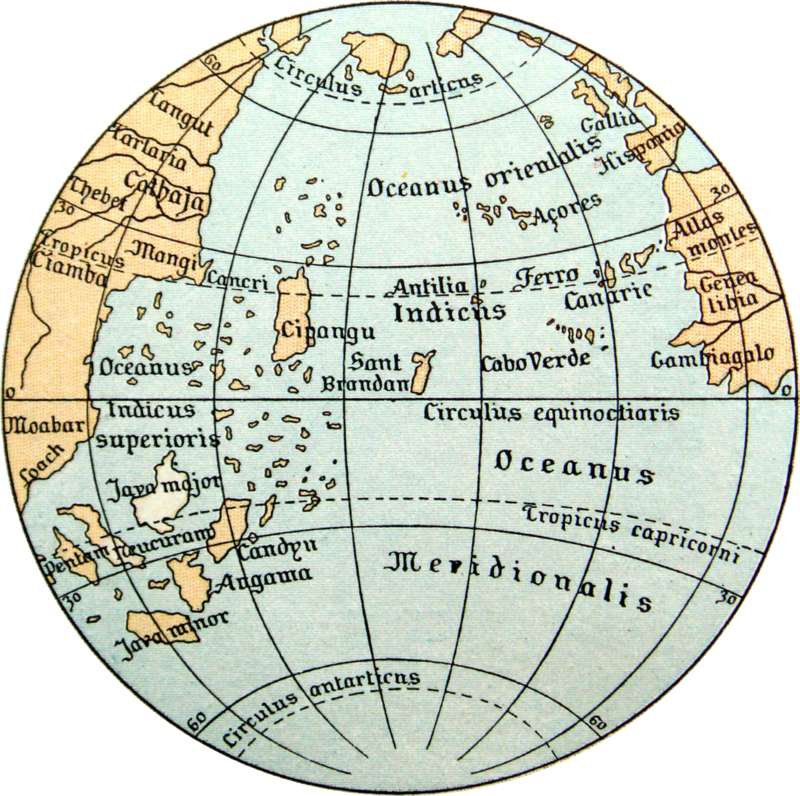 The sea between Europe and Asia as depicted on the Erdapfel.