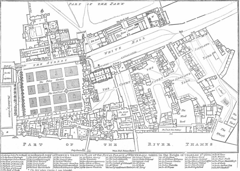 The grounds of the Palace of Whitehall in London in 1680.