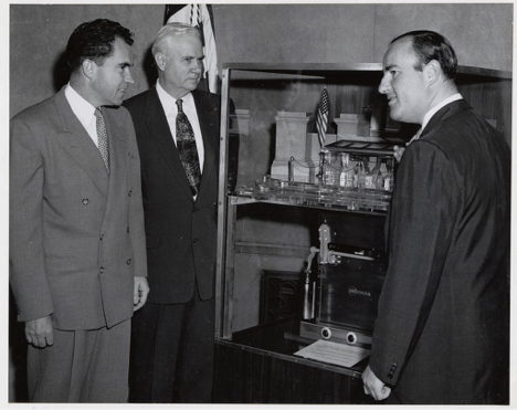 Vice President Nixon, Senator Bricker and Mr. Mosler viewing the scale model of the original National Archives vault.