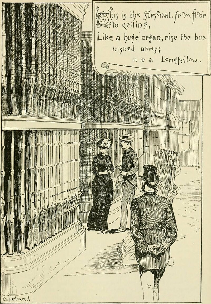 """The Longfellows examine the """"huge organ"""" of guns during their visit to the Springfield Armory."""