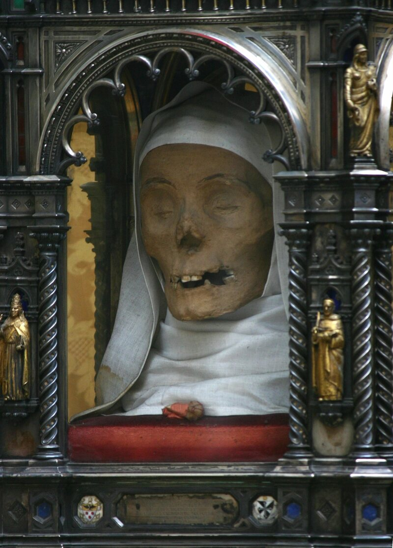 The head of St. Catherine of Siena in a reliquary at the Basilica of San Domenico.