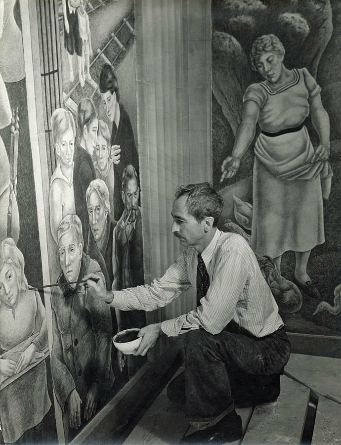 George Biddle in 1936, working on a mural at the Attorney-General's office in the Justice Department Building, Washington, D.C.