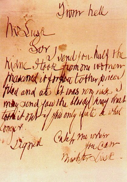 """The """"From Hell"""" Letter postmarked 15 October 1888."""
