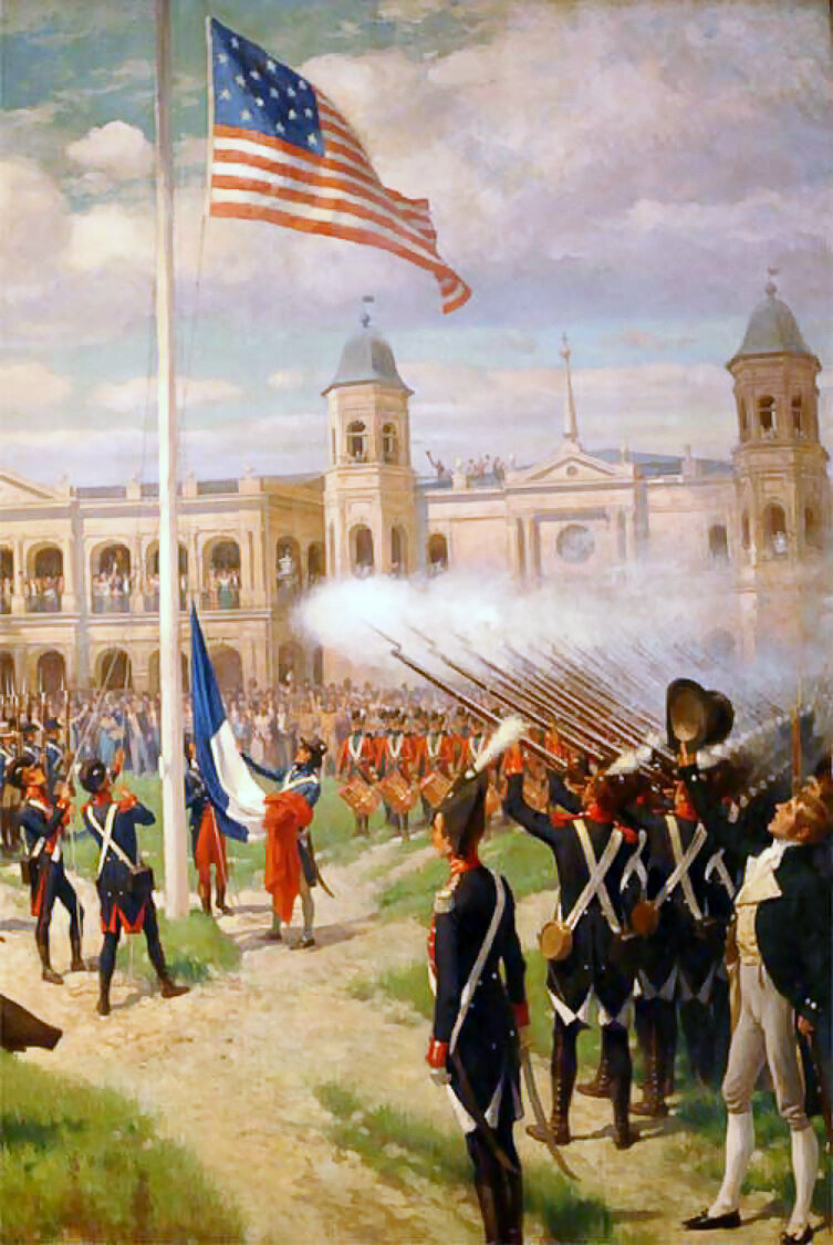 """Thure de Thulstrup's """"Hoisting of American Colors over Louisiana"""" depicts the ceremony in New Orleans—much less complex than St. Louis's."""