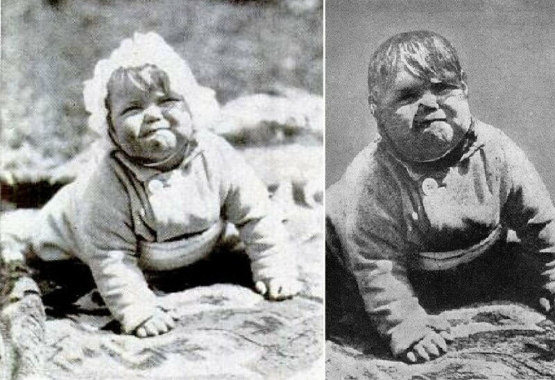 "Baby Johnny on the left; ""Baby Hitler"" on the right."