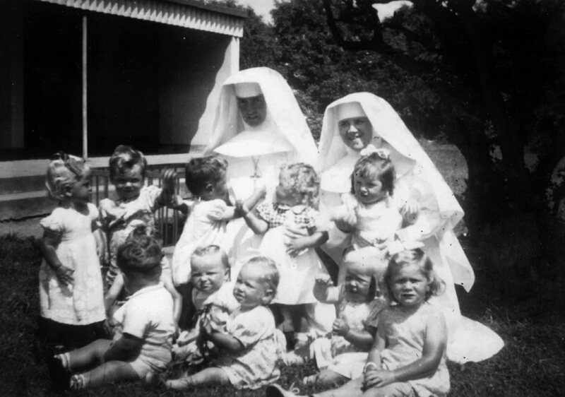 Nuns with children at Sean Ross abbey.
