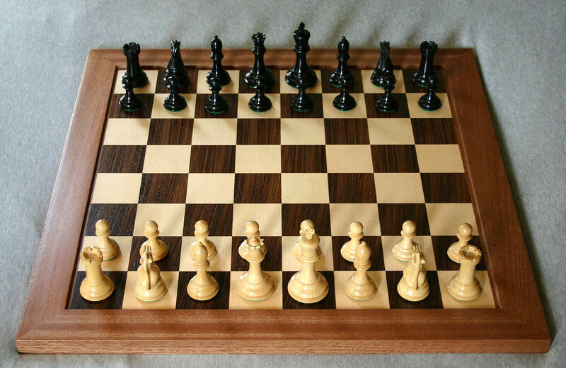 A correctly set up chess board, for reference.