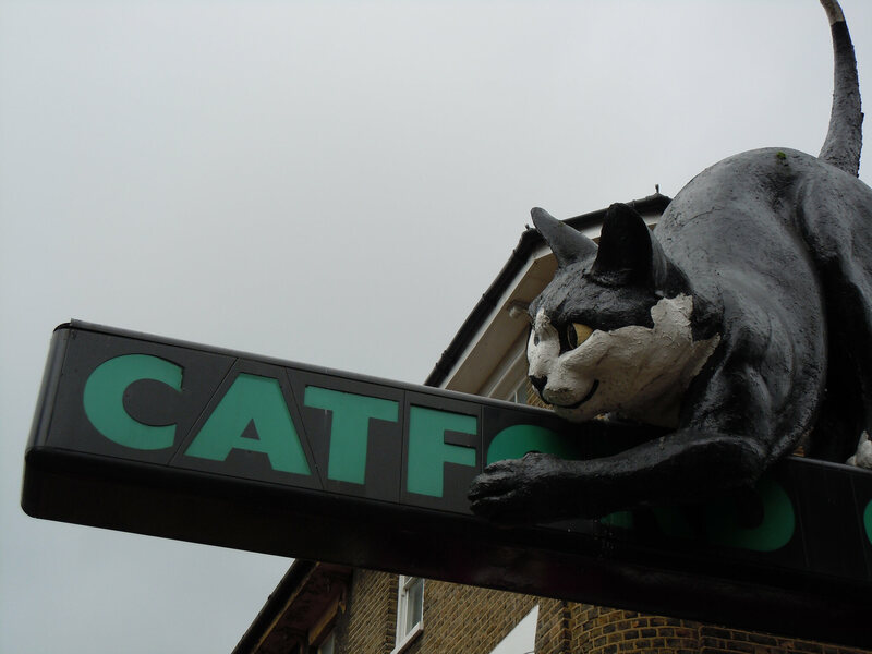 The Catford Cat looks like it's having fun.