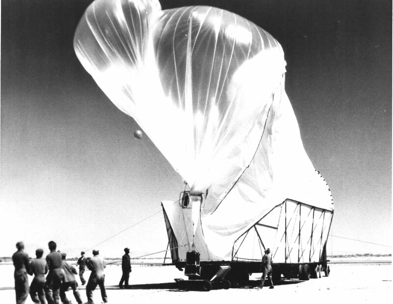 Launch of a Project Moby Dick balloon at Holloman Air Force Base, New Mexico circa 1955.