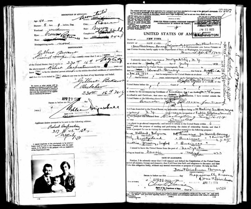 "Doris Fleischman's passport application, noted her to be ""professionally known"" by her maiden name. Her application, unlike Hale's, was accepted."