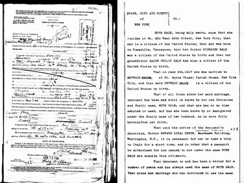 Left: Ruth Hale's passport application; Right, affidavit supporting her case for a passport in her maiden name.