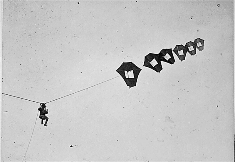Lt. Kirk Booth of the U.S. Signal Corps being lifted skyward by a man-carrying kite.