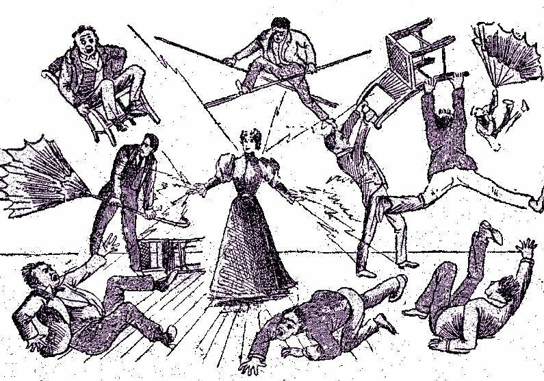 A rather fanciful illustration of Lulu's powers, from the cover of her 1897 autobiography.