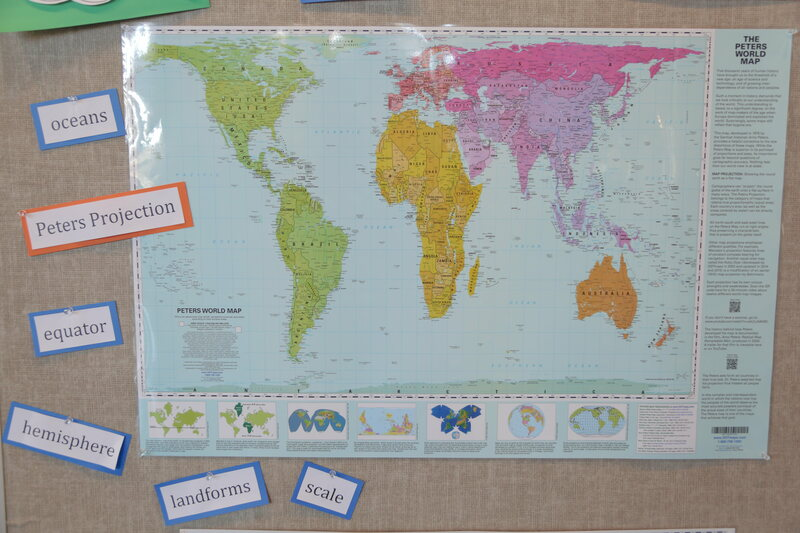 A Peters projection map, displayed in a Boston Public Schools classroom.