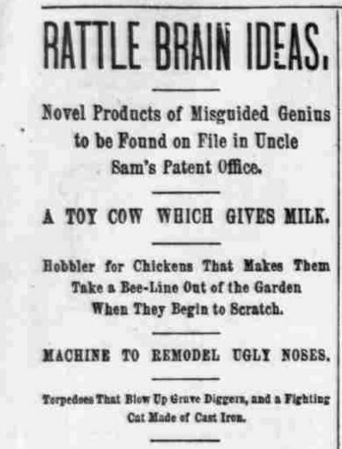 An 1890 column poked fun at overzealous inventors.