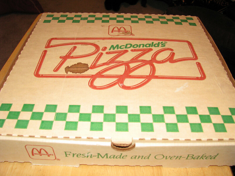 A genuine 1990s McDonald's Pizza box, complete with genuine grease stains.