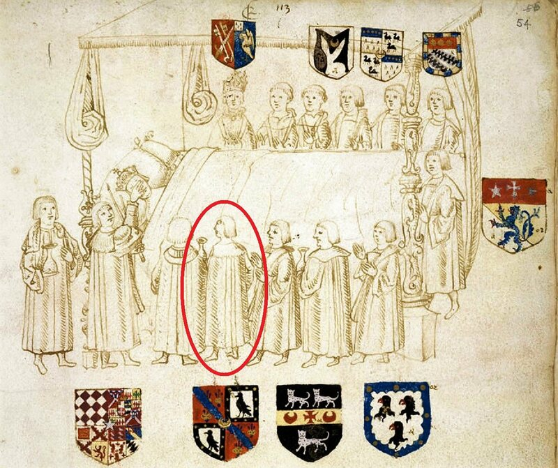 At the deathbed of Henry VIII, with his Groom of the Stool Hugh Denys (circled) one of the chosen attendees.