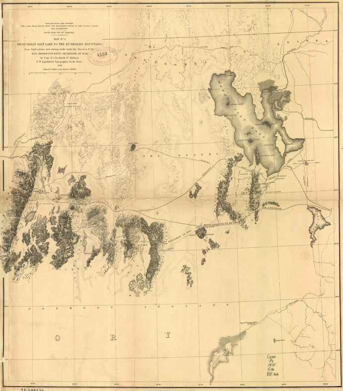 An 1859 map of the Great Salt Lake.