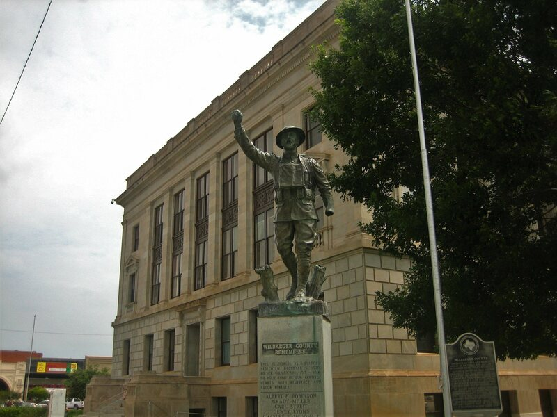 One of Viquesney's statues in Wilbarger County, Texas.