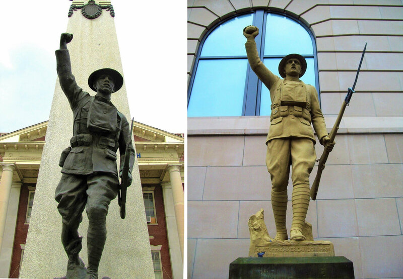 Paulding vs. Viquesney: left is an <em>Over the Top</em> at Knoxville (TN) High School, and right is <em>Spirit of the American Doughboy</em> in Akron, Ohio.