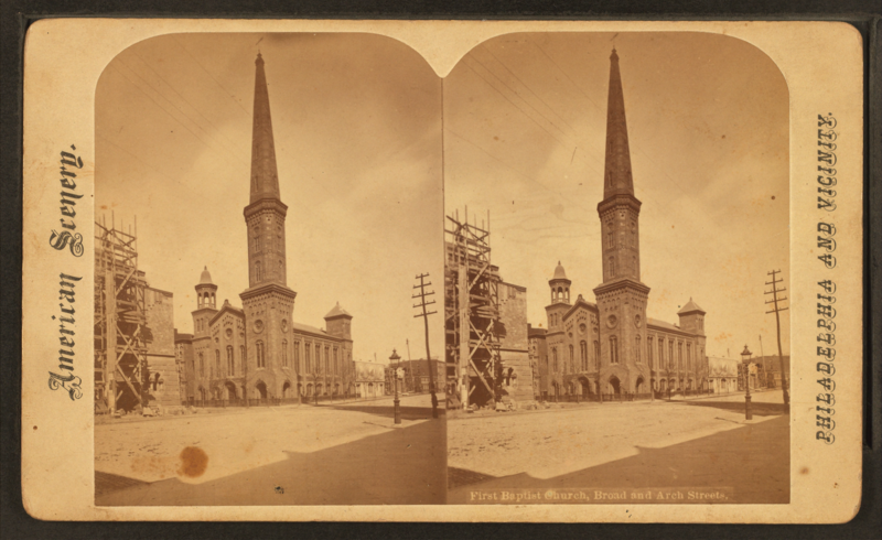 Philadelphia's old First Baptist Church, once located at Broad and Arch Streets.