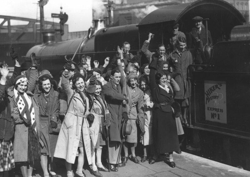 Hikers leaving from Paddington station on a 'Mystery Express' train, 1932.