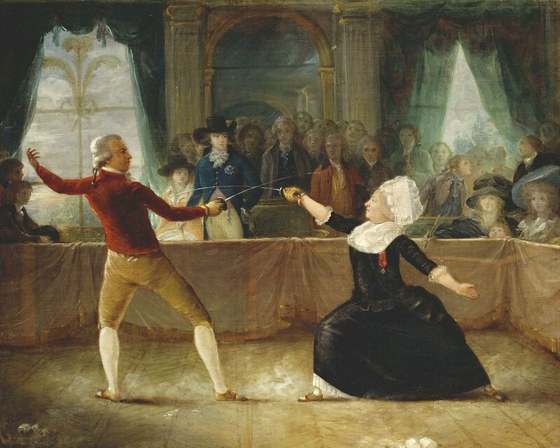 Bologne in a fencing match, c. 1787.