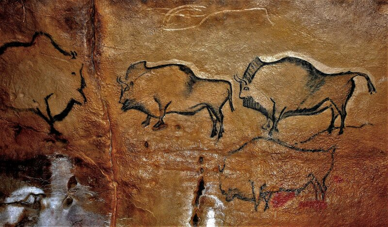 Panel painted with figures of bison in the cave at La Covaciella in northern Spain, an area of research for archaeologist Chris Scarre.