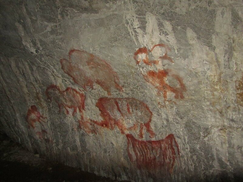 Wall painting at Kapova Cave (Russia). The caverns here are an area of acoustic research for Reznikoff.