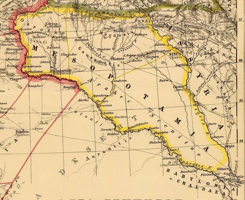 A 1903 map of Mesopotamia, one theoretical (and ancient) source of <em>shaku maku</em>