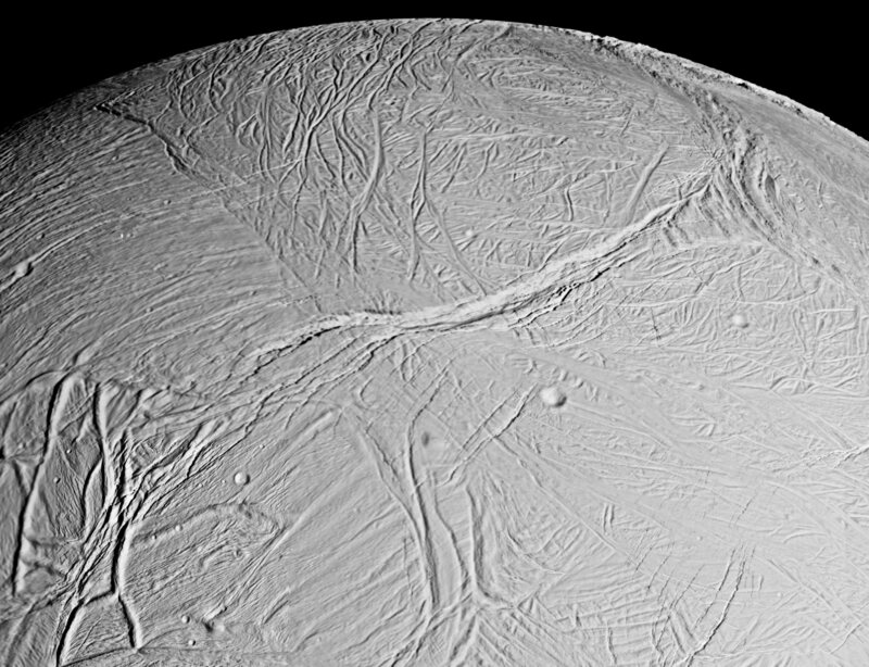 The surface of Enceladus.