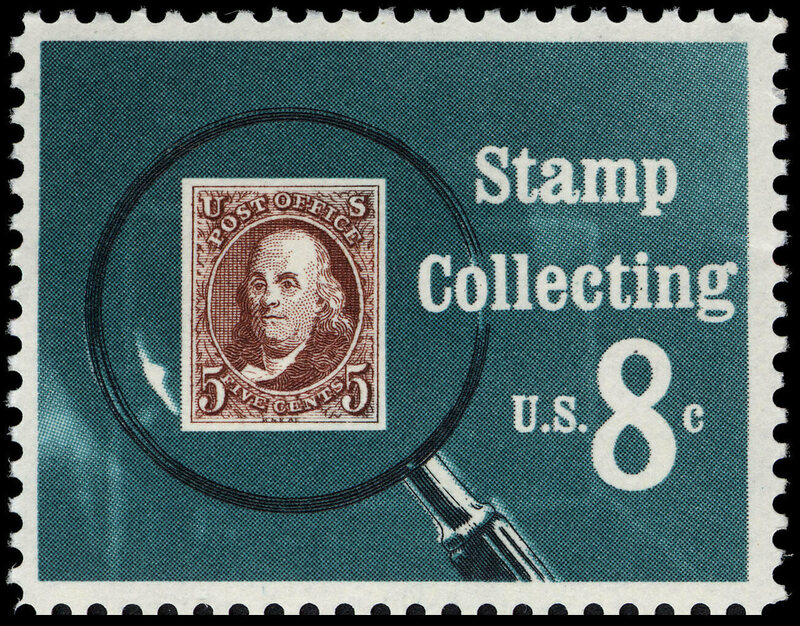 It's stamp inception! The 1972 Stamp Collecting Stamp issued by USPS.